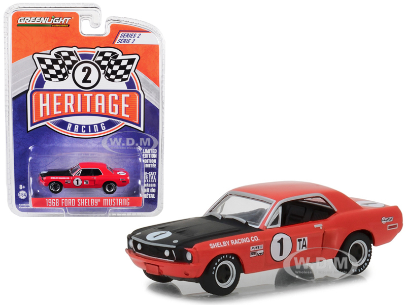 1968_Ford_Mustang_Shelby_1_TA_Jerry_Titus_Ronnie_Bucknum_Red_with_Black_Hood_Ford_Racing_Heritage_Series_2_164_Diecast_Model_Car_by_Greenlight