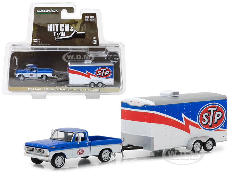 1970 Ford F-100 and Enclosed Car Trailer STP Racing Hitch & Tow Series 12 1/64 Diecast Car Model by Greenlight