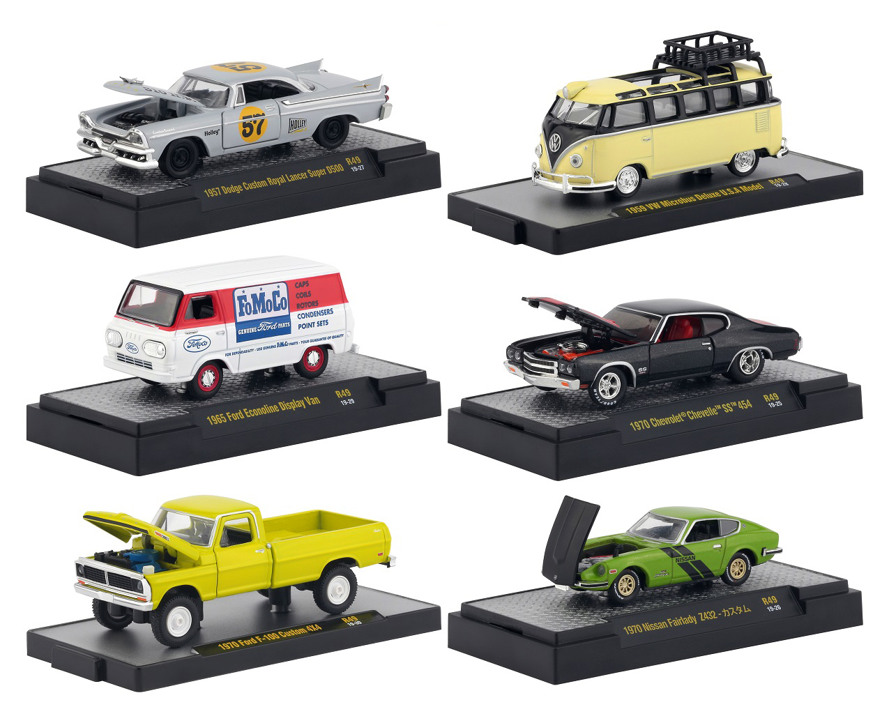 """""""Auto Meets"""" Release 49 Set of 6 Cars IN DISPLAY CASES 1/64 Diecast Model Cars by M2 Machines"""