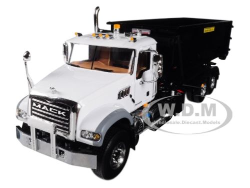 Mack Granite with Tub-Style Roll-Off Container White Cab and Black Body 1/34 Diecast Model by First Gear