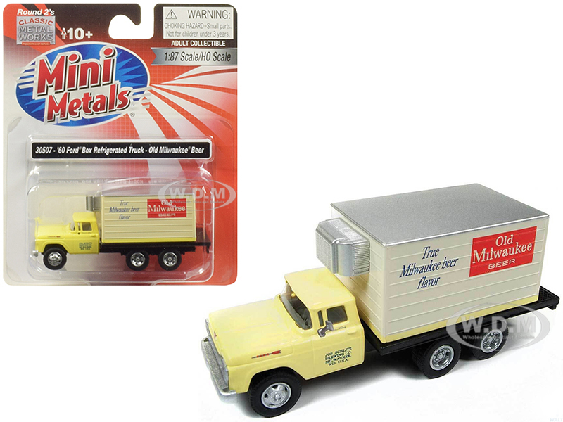 1960_Ford_Box_Reefer_Refrigerated_Truck_Old_Milwaukee_Beer_Yellow_187_HO_Scale_Model_by_Classic_Metal_Works