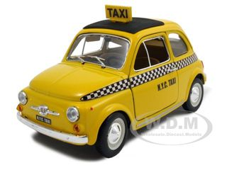 Fiat 500 Taxi Cab 1/24 Diecast Model Car By Bburago