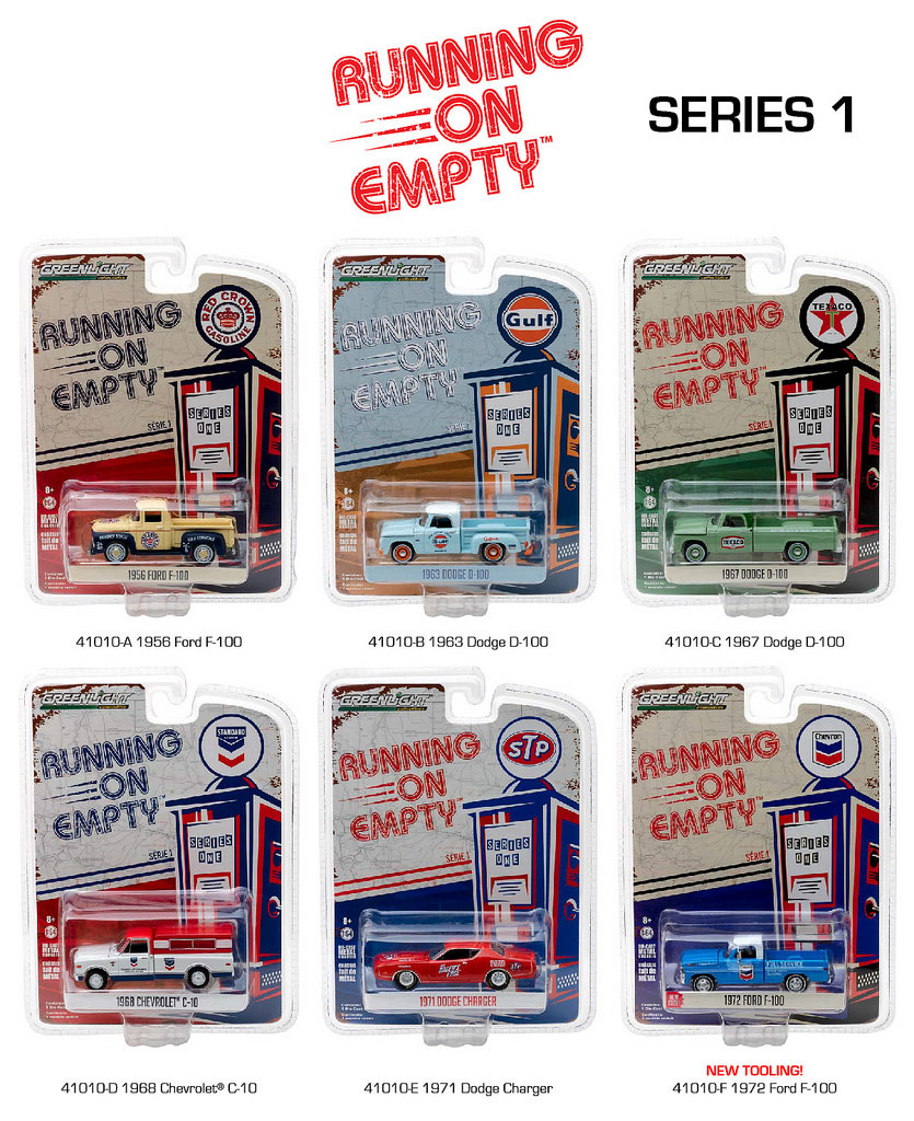 Running on Empty Series 1 6pc Diecast Car Set 1/64 Diecast Model Cars by Greenlight