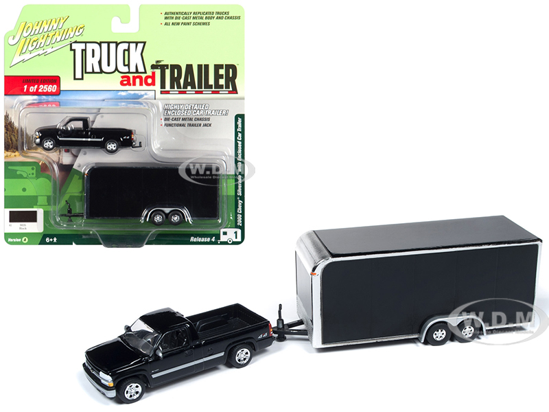 2000 Chevrolet Silverado Pickup Truck with Enclosed Car Trailer Black Limited Edition to 2560 pieces Worldwide