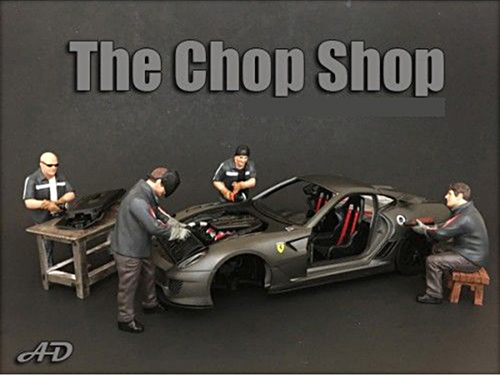 """Chop Shop"" 4 Piece Figure Set for 1:24 Scale Models by American Diorama.Each item is packed in an individual blister pack.Only 4 figures and bench will be received without a car shown.Dimensions of each sitting figure is approximately 2.5 inches tall.Dimensions of each standing figure is approximately 3 inches tall.SET INCLUDES:Mr. Lugnut.Mr. Welder.Mr. Chopman.Mr. Fabricator."