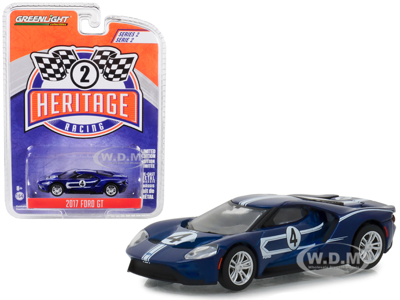 2017_Ford_GT_4_Tribute_to_1967_Ford_GT40_Mk_IV_Blue_with_White_Stripes_Ford_Racing_Heritage_Series_2_164_Diecast_Model_Car_by_Greenlight