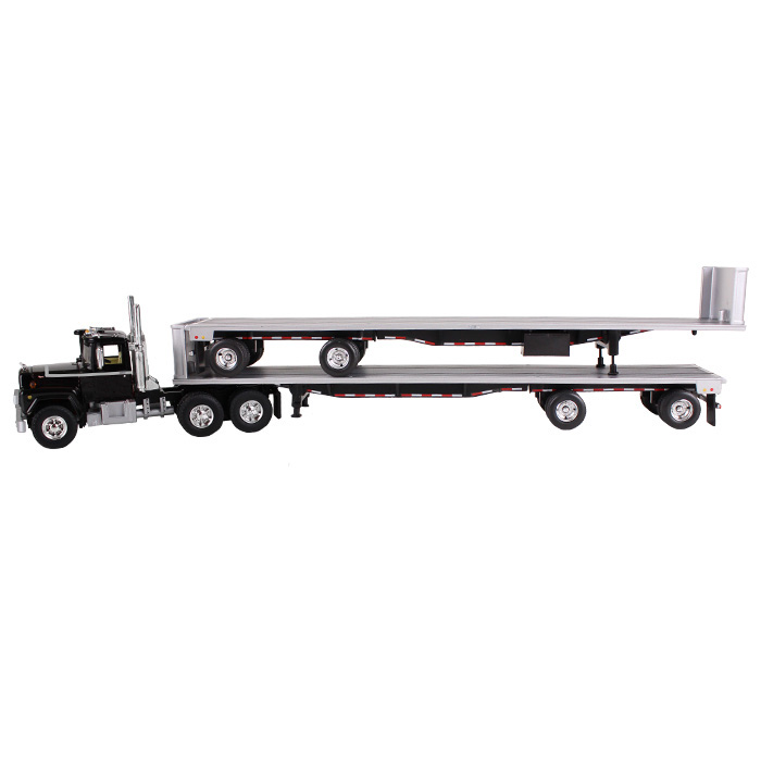 Mack R Truck Black With Two 48ft Flatbed Trailers Stacked 1/64 Diecast Model by First Gear  60-0291
