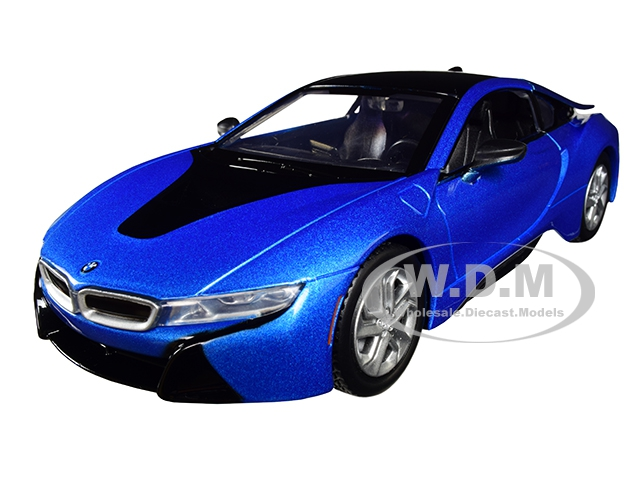 2018_BMW_i8_Coupe_Metallic_Blue_with_Black_Top_124_Diecast_Model_Car_by_Motormax