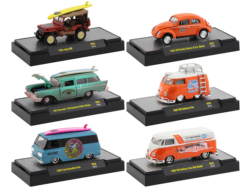 """""""Auto Shows"""" 6 piece Set Release 60 IN DISPLAY CASES 1/64 Diecast Model Cars by M2 Machines"""