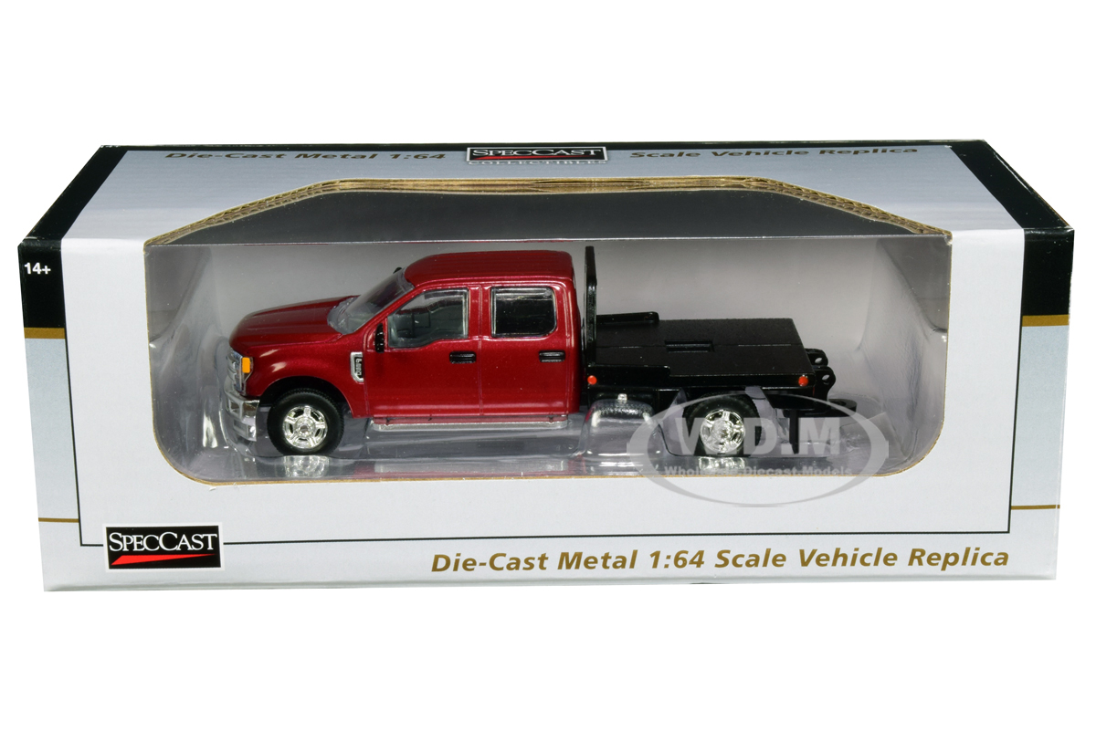 Ford_F250_Truck_with_Flatbed_Metallic_Red_164_Diecast_Model_Car_by_SpecCast