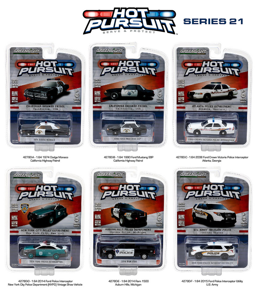Hot Pursuit Series 21 6pc Diecast Car Set 1/64 Diecast Model Cars by Greenlight
