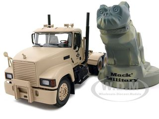 Military Mack Pinnacle Axle Forward Tractor With Camouflage Bulldog Stress Toy 1/34 Diecast Model by First Gear