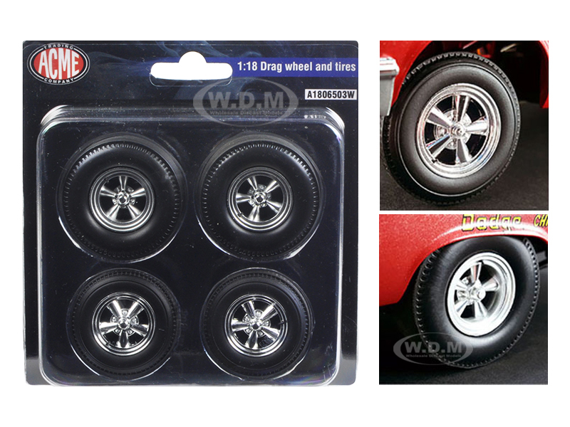 Wheels and Tires Set of 4 Chrome Drag 1/18 by ACME