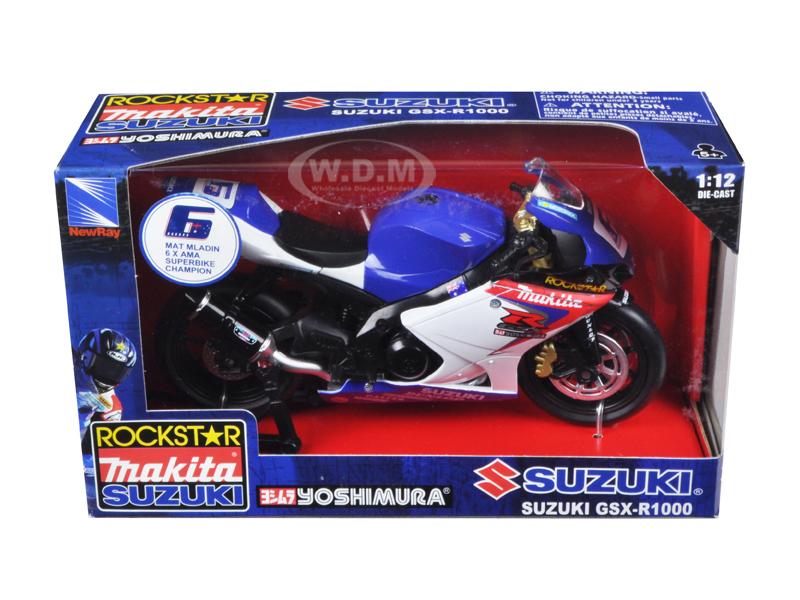 Suzuki GSX-R1000 #6 Makita Suzuki Rockstar Bike Motorcycle 1/12 by New Ray NR57017