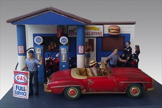 Gas Station Diorama for 118 Diecast Model Cars with Working Interior and Exterior Lights by American Diorama