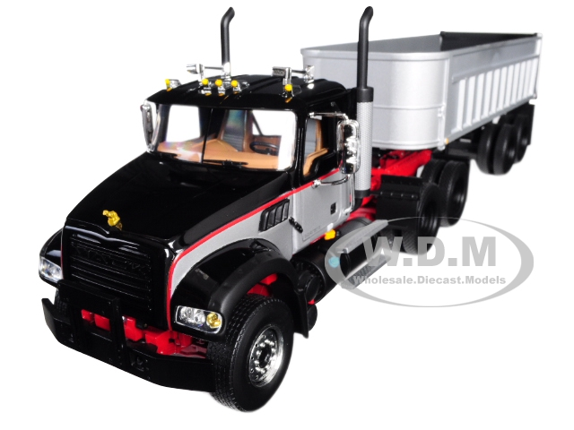 Mack Granite with End Dump Trailer Black and Silver 1/34 Diecast Model by First Gear