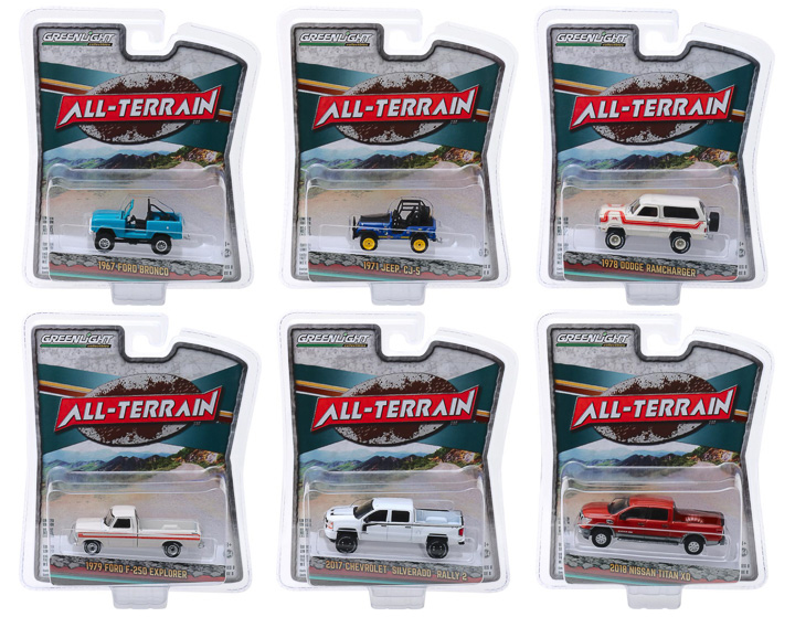 """""""All Terrain"""" Series 8 Set of 6 pieces 1/64 Diecast Model Cars by Greenlight"""