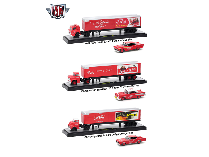 Auto_Haulers_CocaCola_Release_3_Trucks_Set_164_Diecast_Models_by_M2_Machines