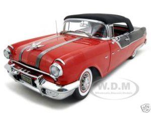 1955 Pontiac Star Chief Closed Convertible Red/Black Platinum Edition 1/18 Diecast Model Car by Sunstar