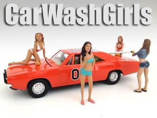 Car Wash Girls 4 Piece Figurine Set for 1/18 Scale Models by American Diorama