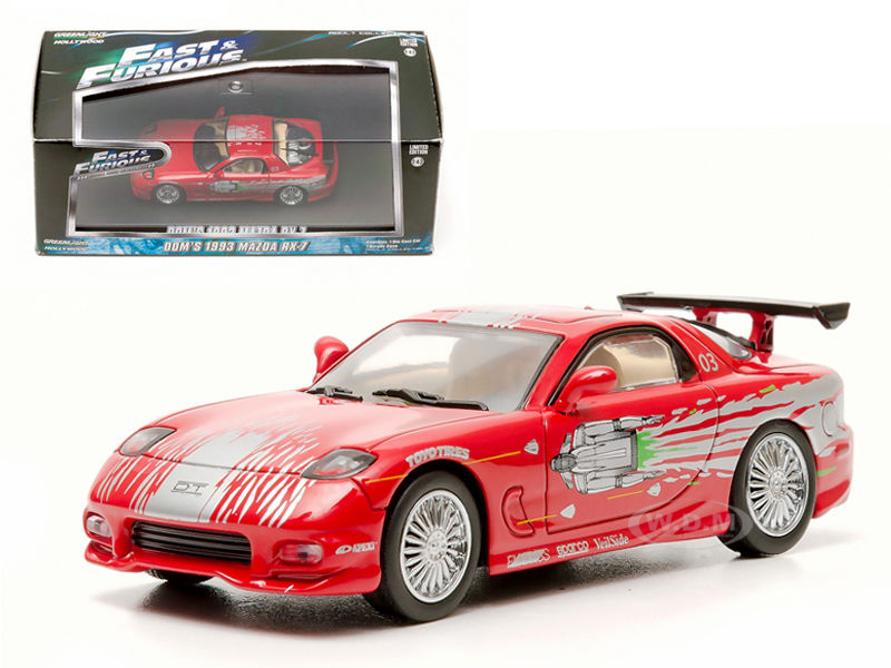 "Doms 1993 Mazda RX-7 Red """"The Fast and The Furious"""" Movie (2001) 1/43 Diecast Car Model by Greenlight"" GL86204"