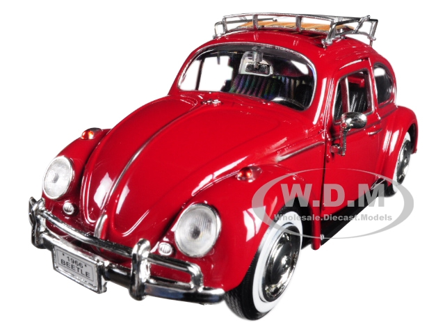 1966_Volkswagen_Classic_Beetle_Red_124_Diecast_Car_Model_by_Motormax