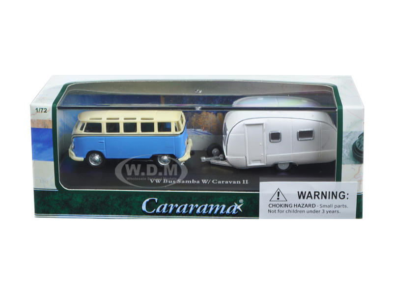 Volkswagen Bus Samba Blue With Caravan Ii Trailer In Display Showcase 1/72 Diecast Car Model By Cararama