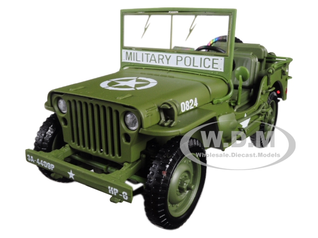 1941 Willys Mb Jeep Wwii Army Olive Green Drab 1/18 Diecast Model Car By Autoworld