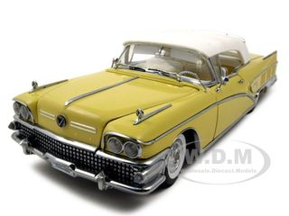 1958 Buick Limited Soft Top Sylvan Grey|Yellow Platinum Edition 1|18 Diecast Car Model by Sunstar