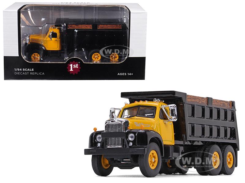Mack B-61 Tandem Axle Dump Truck Yellow Cab/ Black Body 1/64 Diecast Model by First Gear