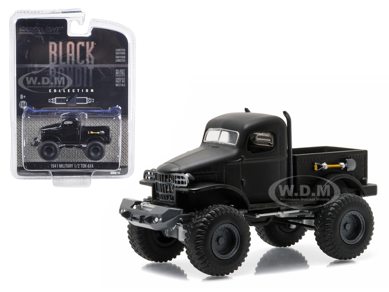 1941 Military 1/2 Ton 4x4 Pick Up Truck Black Bandit 1/64 Diecast Model By Greenlight