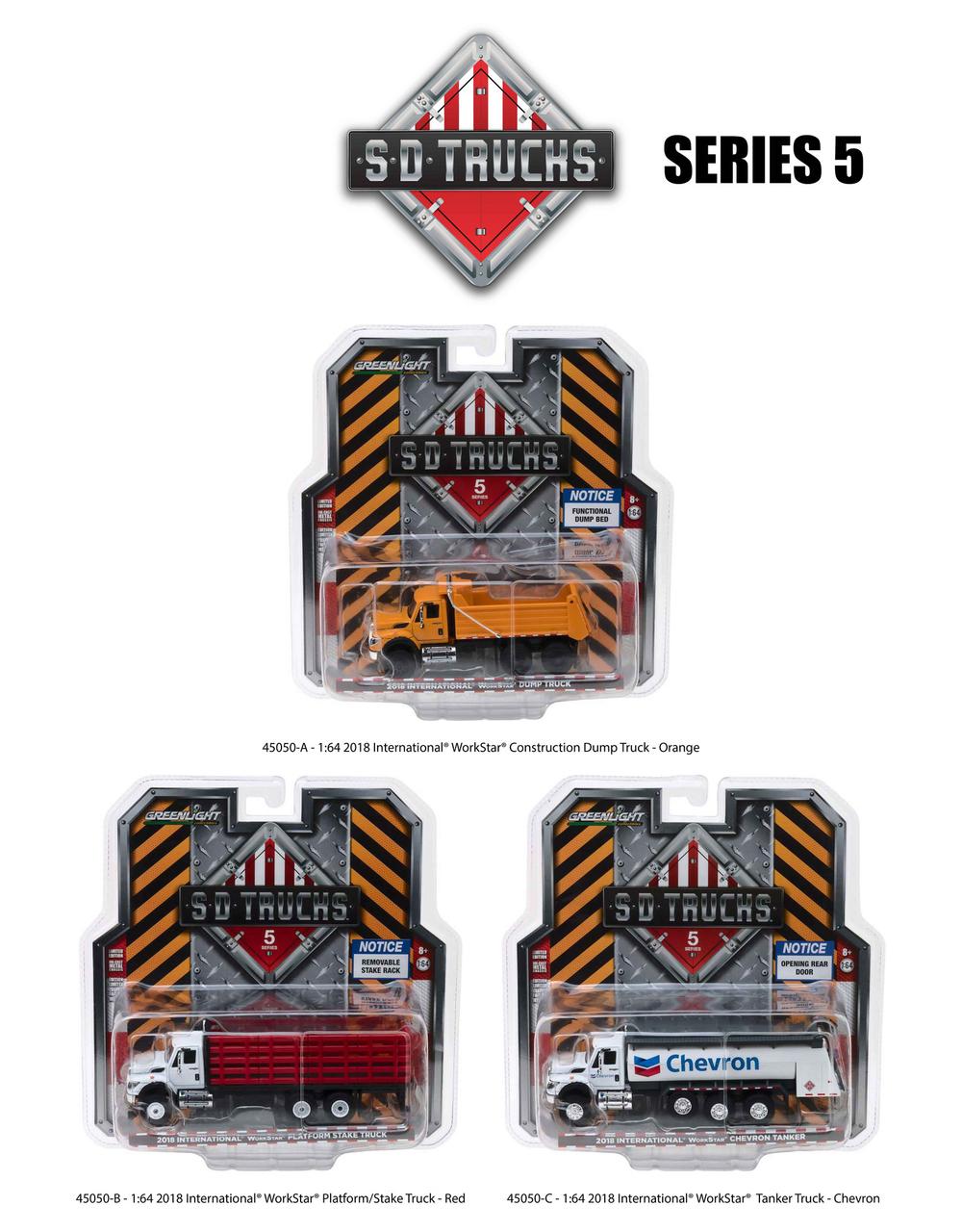 2018 International Workstar Trucks Set Of 3 S.D. Trucks Series 5 1/64 Diecast Models By Greenlight