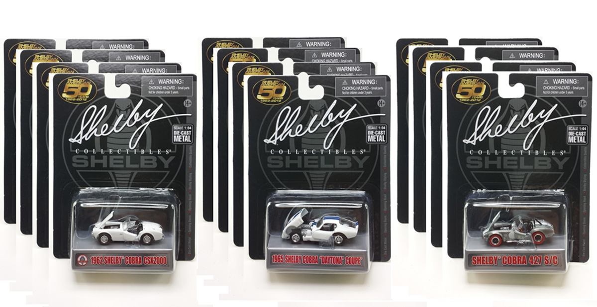 Carroll Shelby 50th Anniversary 3 Pieces Set Diecast Car Set 1/64 Diecast Models by Shelby Collectibles