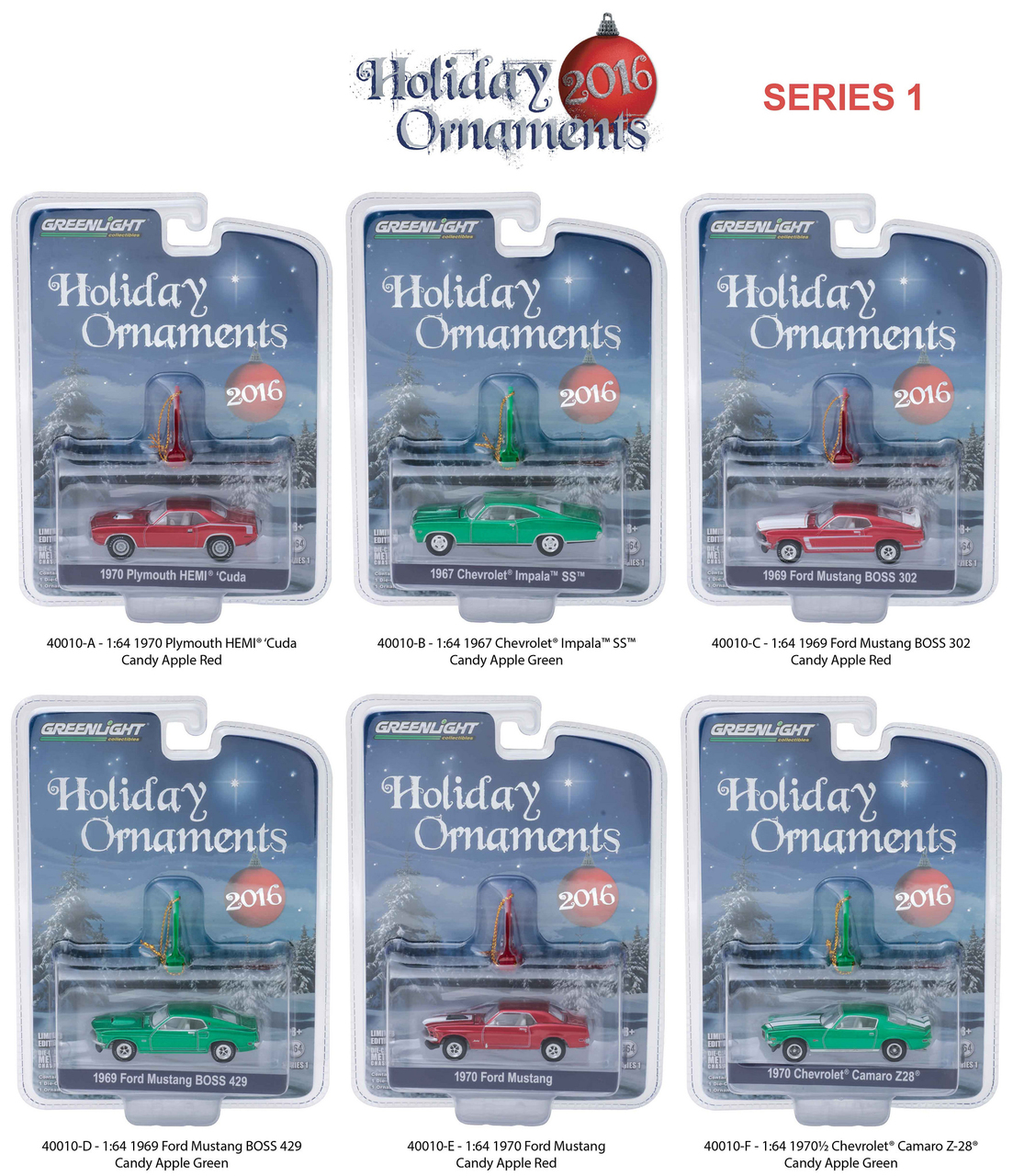 Greenlight Holiday Ornaments Series 1 6pc Diecast Car Set 1/64 Diecast Model Cars by Greenlight