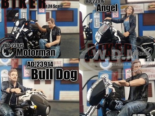 """Bikers"" 4 Piece Figure Set For 1:24 Scale Models by American Diorama.Packed in a blister pack.Only 4 figures will be received.Biker Ace.Biker Bull Dog.Biker Motorman.Biker Angel.Dimensions of the figures are between 2 and 3 inches."
