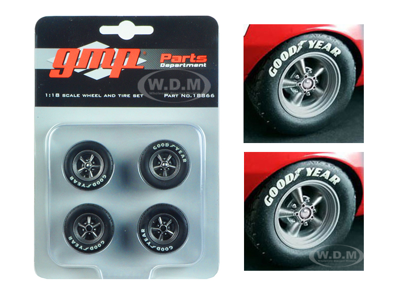 Wheels and Tires Set of 4 from 1967 Chevrolet Camaro Z/28 Trans Am Chevy-Land Heinrich  1/18 by GMP