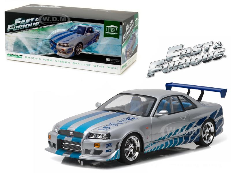 "1999 Nissan Skyline GT-R (R34)  """"Fast & Furious/ 2 Fast 2 Furious"""" Movie (2003) 1/18 Diecast Model Car by Greenlight"" 19029"
