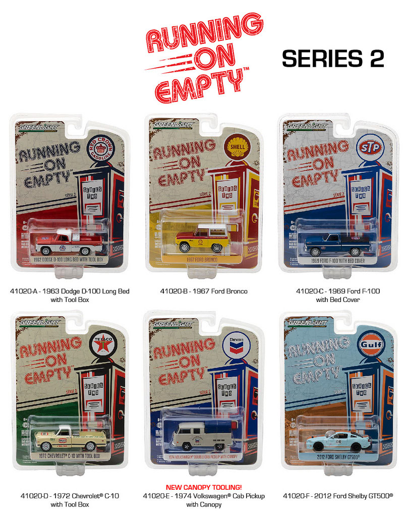 Running on Empty Series 2 6pc Diecast Car Set 1/64 Diecast Model Cars by Greenlight