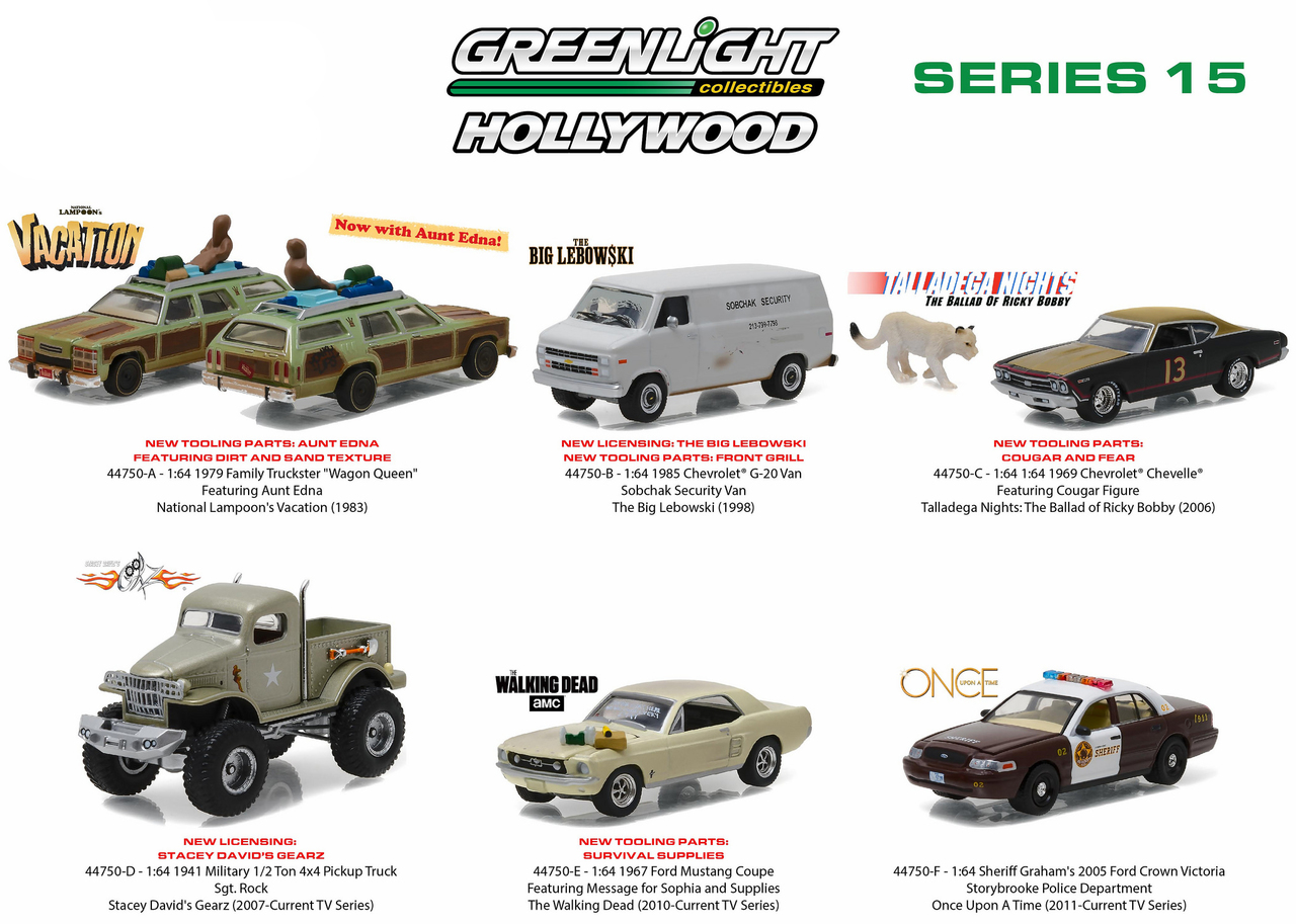 Hollywood Series / Release 15 6pc Diecast Car Set 1/64 Diecast Model Cars by Greenlight