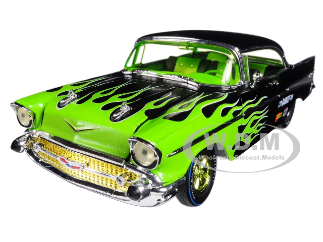 1957_Chevrolet_Bel_Air_Hard_Top_Black_with_Flames_124_Diecast_Model_Car_by_M2_Machines