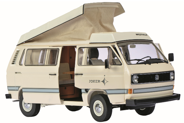 "1979-1990 Volkswagen T3 ""Joker"" Camping Bus Cream/White with Folding Roof 1/18 Diecast Car Model by Schuco"