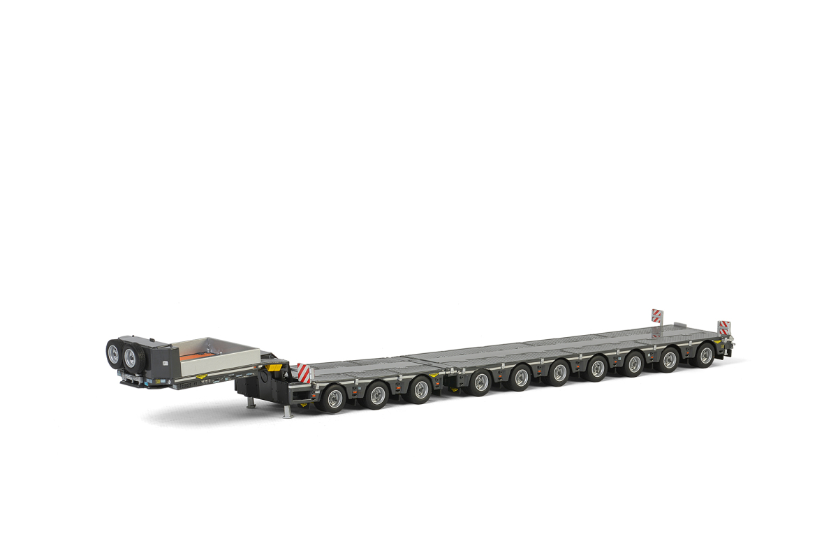 "Brand new 1:50 scalediecast model of""Broshuis""7 AxleLow Loader with 3 Axle Dolly Silver and Black ""WSI Premium Line"" die cast model by WSI Models.Brand newbox.Detailed exterior.Real rubber tires.Made of diecast metal with some plastic parts.Dimensions of Dolly is approximately L-4 inches long.Dimensions of Low Loader is approximately L-12.75 inches long."