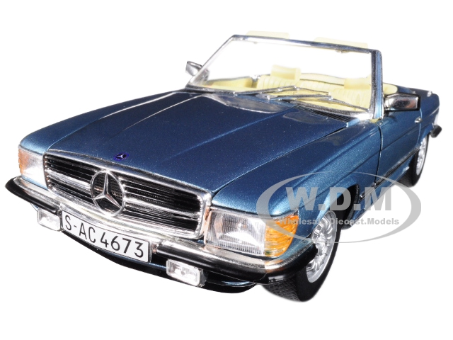 1977_Mercedes_Benz_350_SL_Coupe_Open_Convertible_Blue_Metallic_118_Diecast_Model_Car_by_Sunstar