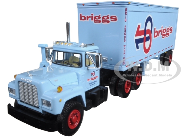 Mack R Model With 28 Pop Trailer Briggs Transportation 1/64 Diecast Model by First Gear