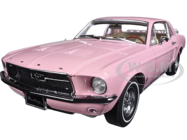 1967 Ford Mustang Coupe Pink with Luggage 1/18 Diecast Model Car by Greenlight