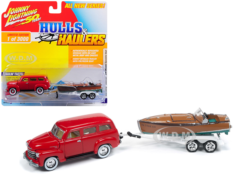 1950_Chevrolet_Suburban_Red_with_Vintage_Wooden_Speedster_Boat_Limited_Edition_to_3000_pieces_Worldwide_Hulls_&amp_Haulers_Series_1_164_Diecast_M