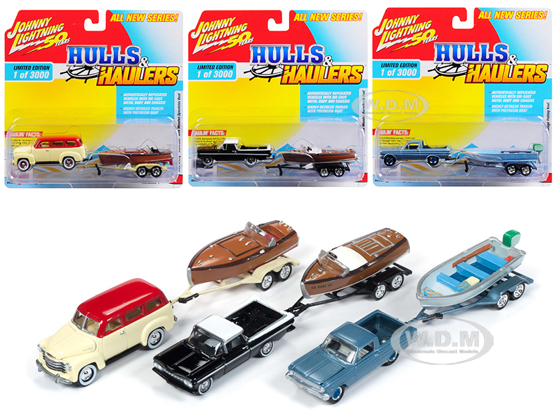 Hulls_&amp_Haulers_Series_1_Set_A_of_3_Cars_Limited_Edition_to_3000_pieces_Worldwide_164_Diecast_Model_Cars_by_Johnny_Lightning