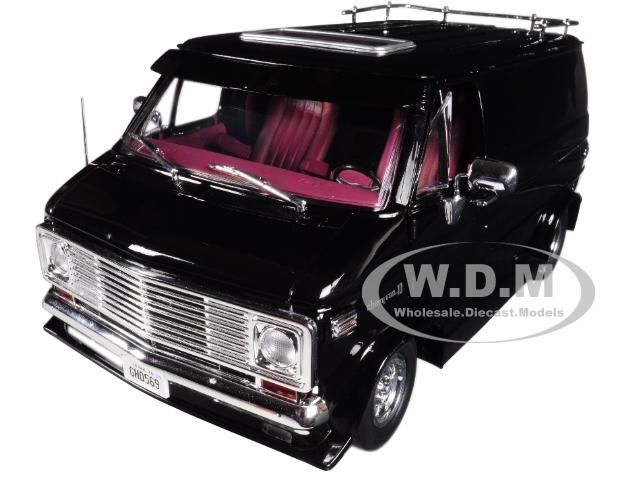 1976 Chevrolet G-Series Van Black Limited Edition 1/18 Diecast Car Model by Highway 61