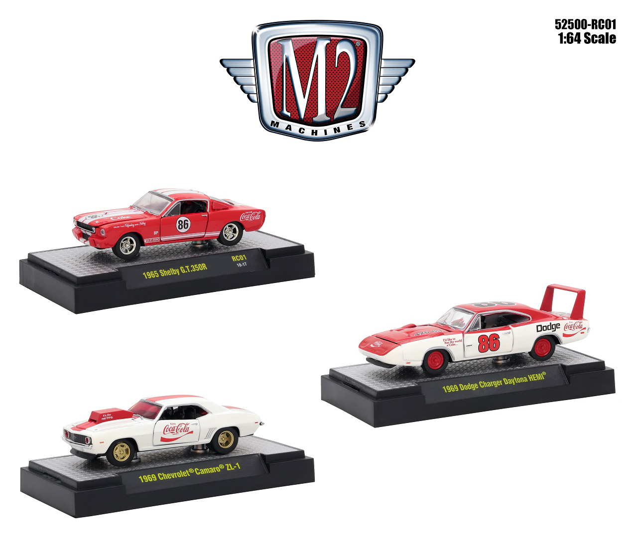 CocaCola_Set_of_3_Cars_Limited_Edition_to_4800_pieces_Worldwide_Hobby_Exclusive_164_Diecast_Models_by_M2_Machines