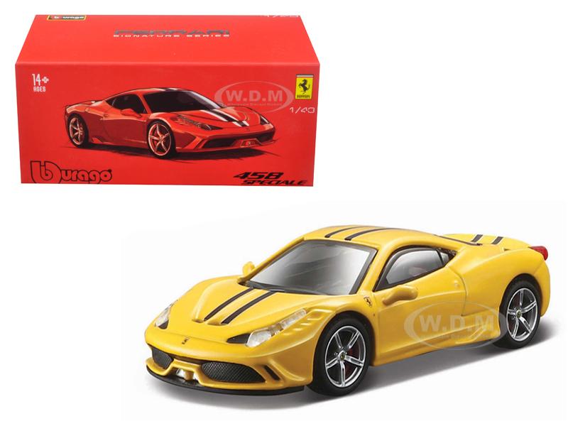 Ferrari 458 Speciale Yellow Signature Series 1/43 Diecast Model Car by Bburago 36901y